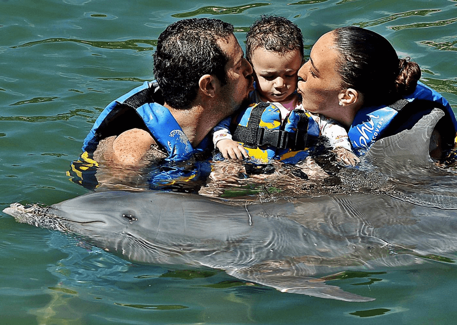 Mom Dad and Child Kissing Dolphin Mexico