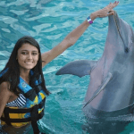 Young Lady Touches Dolphins Nose Mexico
