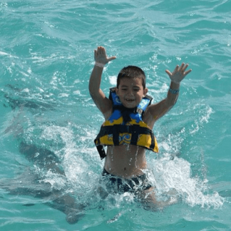 Young child dolphin royal swim mexico