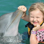 Young Girl Touching Nose of Dolphin Encounter Mexico