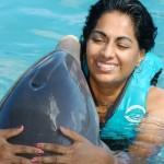 Dolphin Hug Blue Lagoon Nassau Bahamas