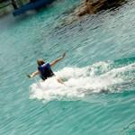Full force of Foot Push Blue Lagoon Nassau Bahamas