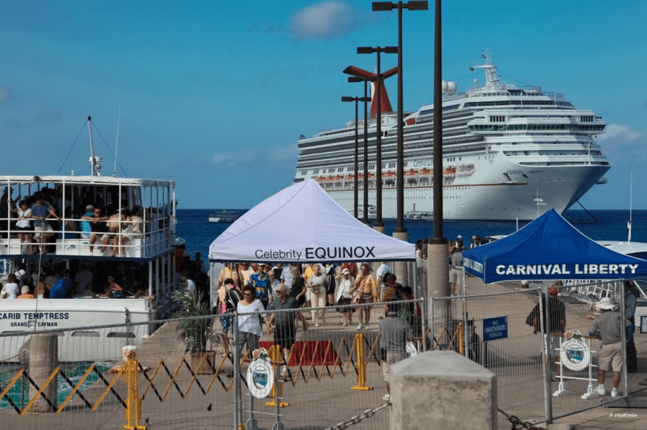 Cruise Ship Docking Off Shore in Grand Cayman