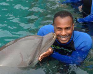 Dolphin Kiss During Miami Dolphin Swim