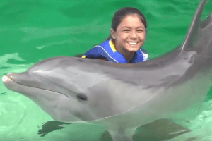Royal Dolphin Swim holding dolphin Oahu Hawaii