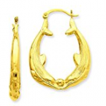 Gold Dolphin Hoop Earrings