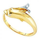dolphin gold diamond ring