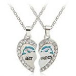 two hearts dolphin necklace