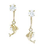 dolphin cubic zarconia earrings