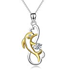 Pendant necklace jumping heart dolphin