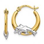 rhodium dolphin hoop earring